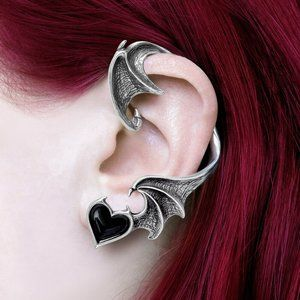 Alchemy Gothic Winged Black Heart Left Ear Wrap